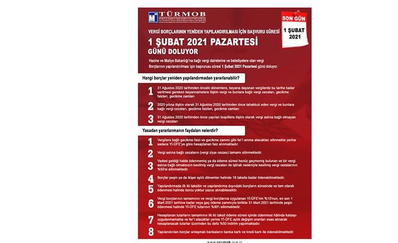 Vergi Borçlarının Yeniden Yapılandırılması Için Başvuru Süresi, 1 ŞUBAT 2021 PAZARTESİ Günü Doluyor