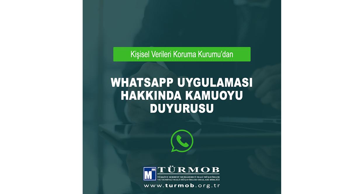 KVKK – Whatsapp Uygulaması Hakkında Kamuoyu Duyurusu