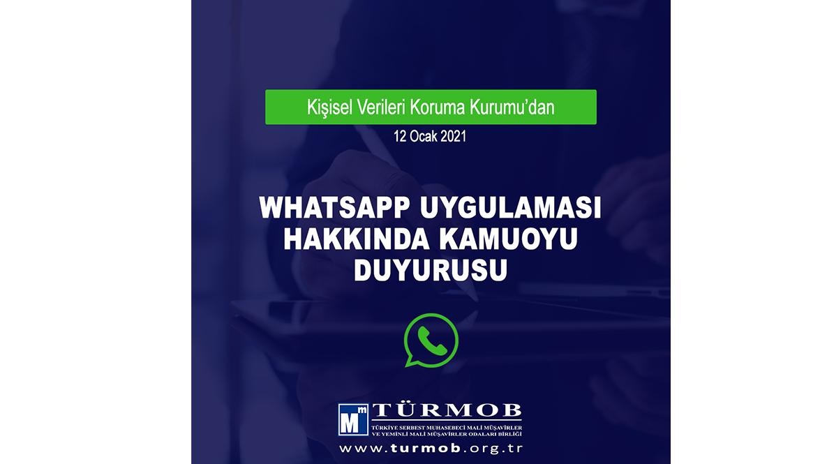 KVKK – WHATSAPP Uygulaması Hakkında Kamuoyu Duyurusu (12.01.2021)